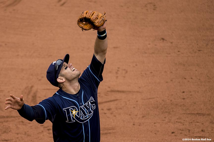 """Tampa Bay Rays third baseman Evan Longoria catches a fly ball during the eighth inning of the first game of a day-night double header against the Boston Red Sox Thursday, May 1, 2014 at Fenway Park in Boston, Massachusetts."""