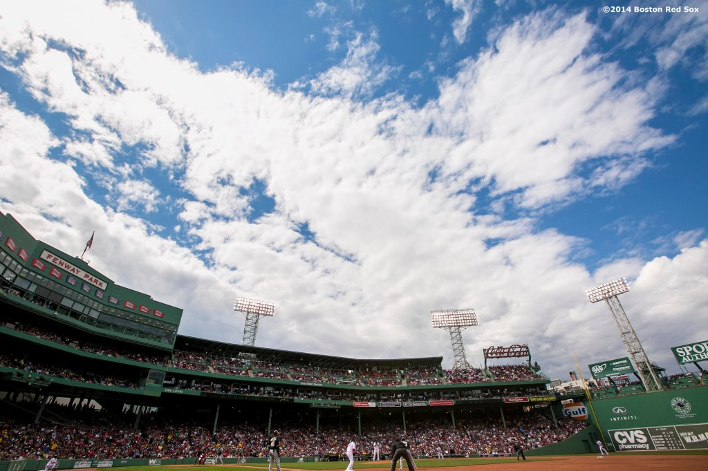 """Fenway Park is shown during a game between the Boston Red Sox and the Oakland Athletics Saturday, May 4, 2014 in Boston, Massachusetts."""