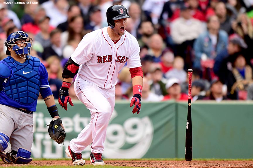 """Boston Red Sox catcher A.J. Pierzynski reacts during the sixth inning of a game against the Toronto Blue Jays Thursday, May 22, 2014 at Fenway Park in Boston, Massachusetts."""
