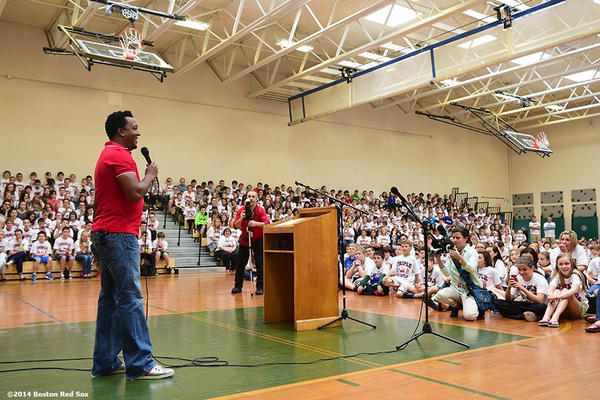 """Former Boston Red Sox pitcher Pedro Martinez speaks to students during a visit to Furnace Brook Middle School in Marshfield, Massachusetts Tuesday, May 27, 2014 as part of the Rally Against Cancer Program, a collaborative effort between the Red Sox and the Jimmy Fund to raise money for cancer research and care."""