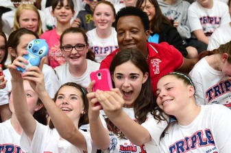 """Former Boston Red Sox pitcher Pedro Martinez poses for a selfie with students during a visit to Furnace Brook Middle School in Marshfield, Massachusetts Tuesday, May 27, 2014 as part of the Rally Against Cancer Program, a collaborative effort between the Red Sox and the Jimmy Fund to raise money for cancer research and care."""