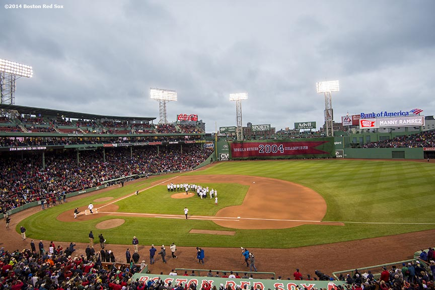 """The Boston Red Sox host a pre-game ceremony honoring the ten year anniversary and team reunion of the 2004 World Series champion Boston Red Sox at Fenway Park in Boston, Massachusetts Wednesday, May 28, 2014."""