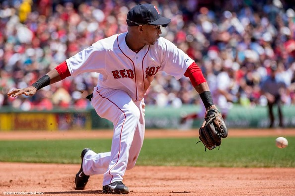 """""""Boston Red Sox third baseman Jonathan Herrera fields a ground ball during the second inning of a game against the Tampa Bay Rays at Fenway Park in Boston, Massachusetts Sunday, June 1, 2014."""""""