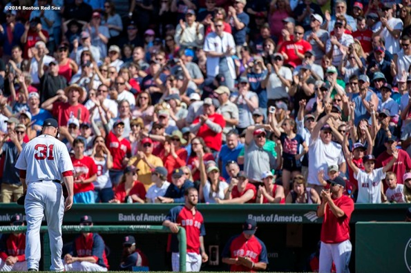 """""""Boston Red Sox pitcher Jon Lester walks toward the dugout during the seventh inning of a game against the Tampa Bay Rays at Fenway Park in Boston, Massachusetts Sunday, June 1, 2014."""""""
