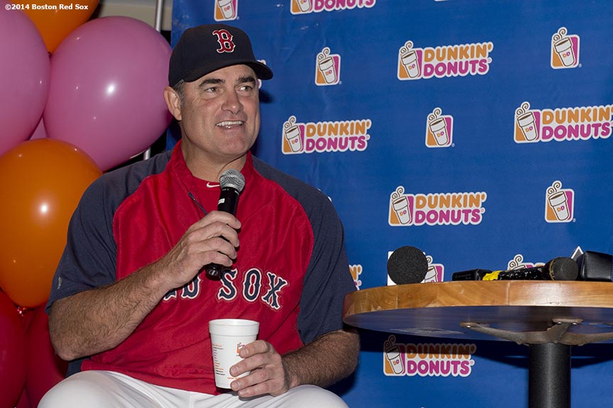 """Boston Red Sox manager John Farrell speaks during the Dunkin' Donuts ""Papi's Day"" lunch in the State Street Pavilion at Fenway Park in Boston, Massachusetts Friday, June 13, 2014."""