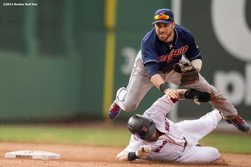 """Boston Red Sox first baseman Mike Napoli slides as second baseman Jason Kipnis attempts to turn a double play during the sixth inning of a game against the Cleveland Indians Saturday, June 14, 2014 at Fenway Park in Boston, Massachusetts."""