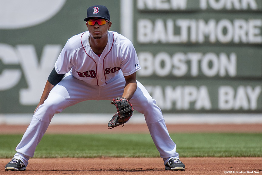 """Boston Red Sox third baseman Xander Bogaerts sets during the first inning of a game against the Minnesota Twins at Fenway Park in Boston, Massachusetts Tuesday, June 18, 2014."""