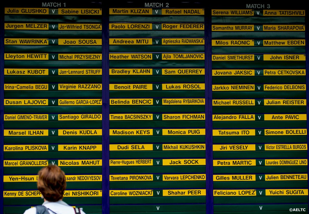 """A fan looks at a board displaying the order of play at the All England Lawn and Tennis Club in London, England Tuesday, June 24, 2014 during the 2014 Championships Wimbledon."""
