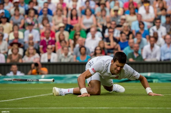 """""""Novak Djokovic loses his racquet as he falls during a match against Radek Stepanek on Centre Court at the All England Lawn and Tennis Club in London, England Tuesday, June 24, 2014 during the 2014 Championships Wimbledon."""""""