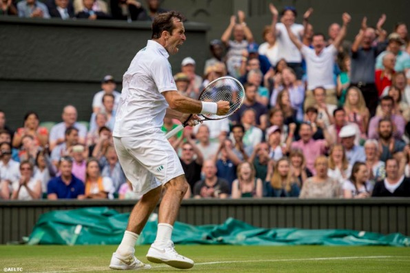 """""""Radek Stepanek reacts during a match against Novak Djokovic on Centre Court at the All England Lawn and Tennis Club in London, England Tuesday, June 24, 2014 during the 2014 Championships Wimbledon."""""""