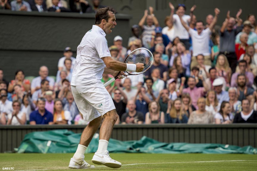 """Radek Stepanek reacts during a match against Novak Djokovic on Centre Court at the All England Lawn and Tennis Club in London, England Tuesday, June 24, 2014 during the 2014 Championships Wimbledon."""
