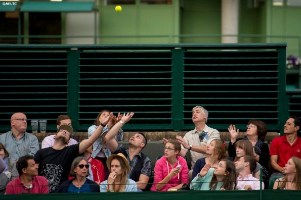 """""""Fans reach to catch a stray tennis ball on No. 18 Court at the All England Lawn and Tennis Club in London, England Tuesday, June 24, 2014 during the 2014 Championships Wimbledon."""""""