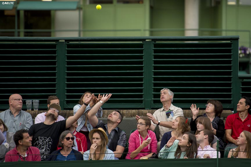 """Fans reach to catch a stray tennis ball on No. 18 Court at the All England Lawn and Tennis Club in London, England Tuesday, June 24, 2014 during the 2014 Championships Wimbledon."""