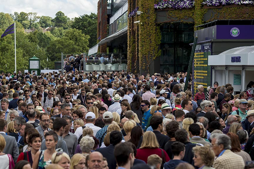 """Fans enter No. 1 Court at the All England Lawn and Tennis Club in London, England Friday, June 27, 2014 during the 2014 Championships Wimbledon."""