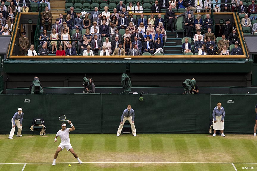 """Rafael Nadal hits a forehand in front of the Royal Box on Centre Court at the All England Lawn and Tennis Club in London, England Saturday, June 28, 2014 during the 2014 Championships Wimbledon."""