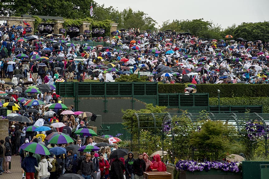 """Fans use umbrellas as they sit on Henman Hill during a rain delay at the All England Lawn and Tennis Club in London, England Saturday, June 28, 2014 during the 2014 Championships Wimbledon."""