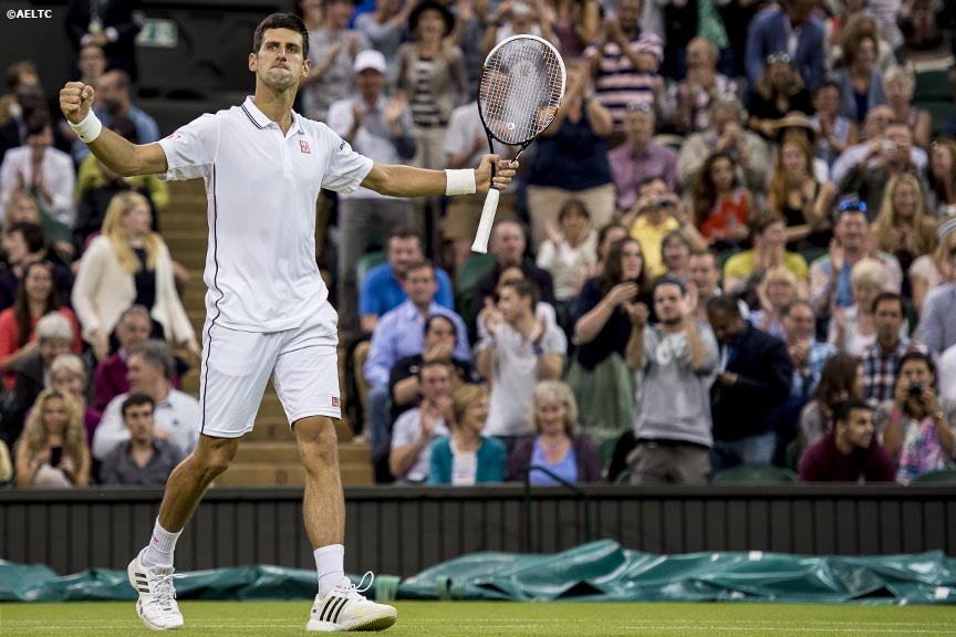 """Novak Djokovic reacts after defeating t Jo-Wilfried Tsonga on Centre Court at the All England Lawn and Tennis Club in London, England Monday, June 30, 2014 during the 2014 Championships Wimbledon."""