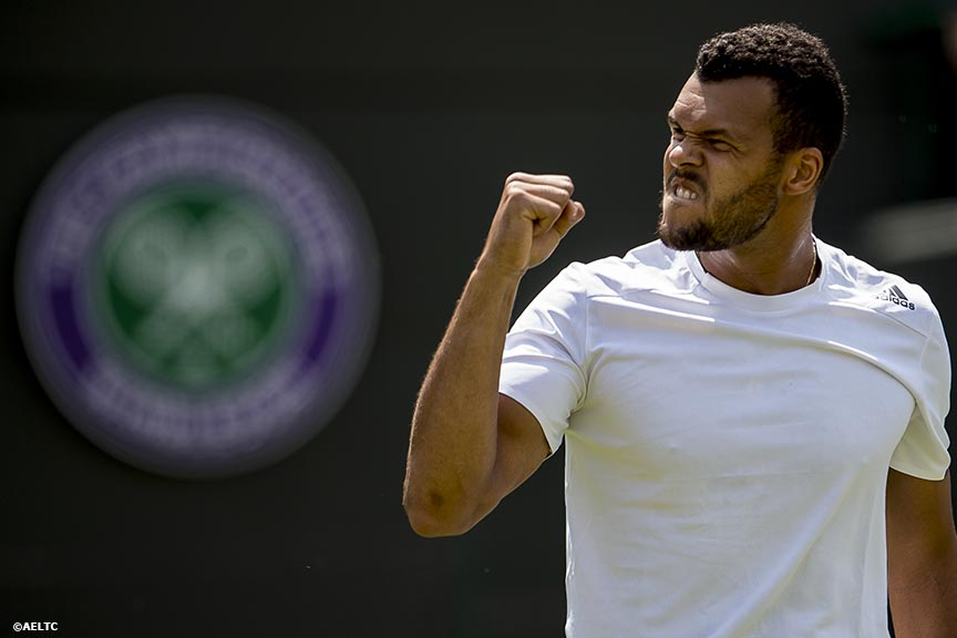 """Jo-Wilfried Tsonga celebrates after defeating Jurgen Melzer at the All England Lawn and Tennis Club in London, England Tuesday, June 24, 2014 during the 2014 Championships Wimbledon."""
