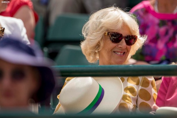 """""""Camilla, Duchess of Cornwall, watches a match on No. 1 Court at the All England Lawn and Tennis Club in London, England Tuesday, June 24, 2014 during the 2014 Championships Wimbledon."""""""