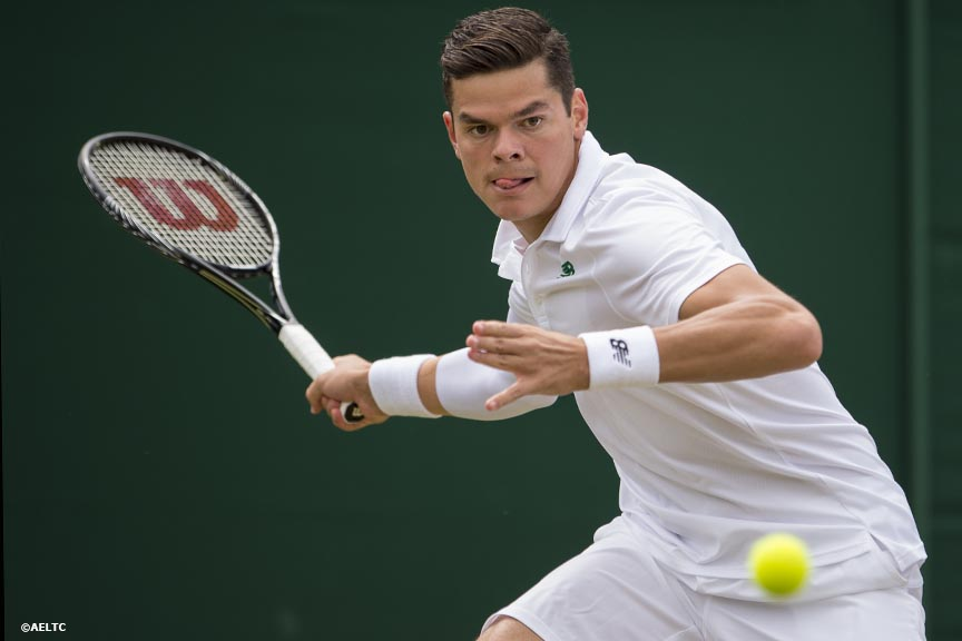 """Milos Raonic hits a forehand during a match against Jack Sock at the All England Lawn and Tennis Club in London, England Thursday, June 26, 2014 during the 2014 Championships Wimbledon."""