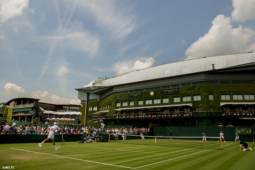 """An outer court is shown at the All England Lawn and Tennis Club in London, England Tuesday, June 24, 2014 during the 2014 Championships Wimbledon."""
