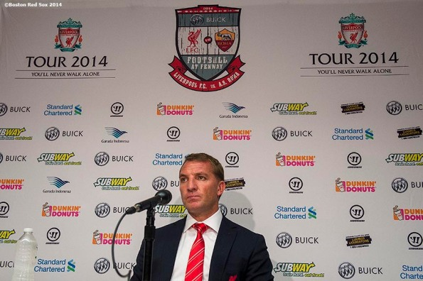 """Liverpool FC manager Brendan Rodgers speaks during a press conference before a match against AS Roma during Football at Fenway at Fenway Park in Boston, Massachusetts Tuesday, July 23, 2014. """