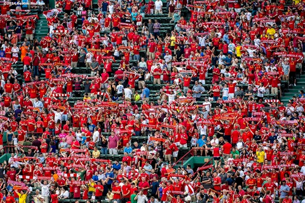 """""""Liverpool FC fans cheer during a match between Liverpool FC and AS Roma during Football at Fenway at Fenway Park in Boston, Massachusetts Wednesday, July 23, 2014. """""""