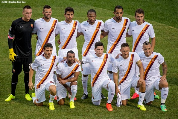 """""""The AS Roma starting lineup poses for a team photograph before a match against Liverpool FC during Football at Fenway at Fenway Park in Boston, Massachusetts Wednesday, July 23, 2014. """""""