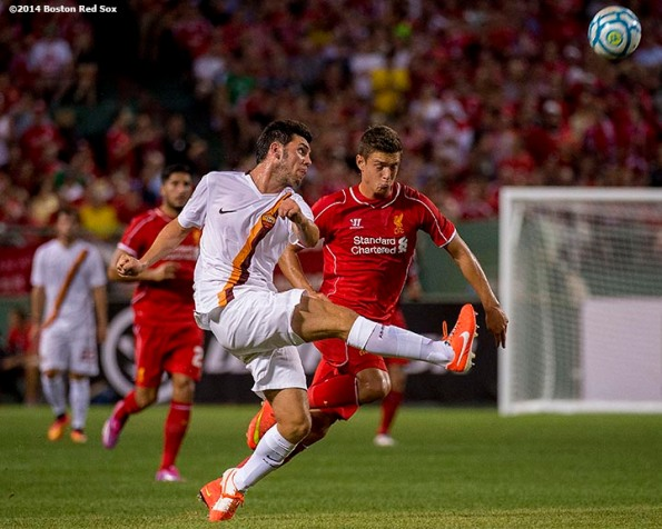 """""""during a match between Liverpool FC and AS Roma during Football at Fenway at Fenway Park in Boston, Massachusetts Wednesday, July 23, 2014. """""""