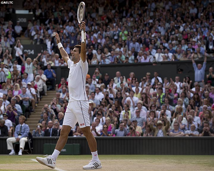 """Novak Djokovic reacts after winning match point to defeat Roger Federer in the gentlemen's singles final against Roger Federer at the All England Lawn and Tennis Club in London, England Sunday, July 6, 2014 during the 2014 Championships Wimbledon."""