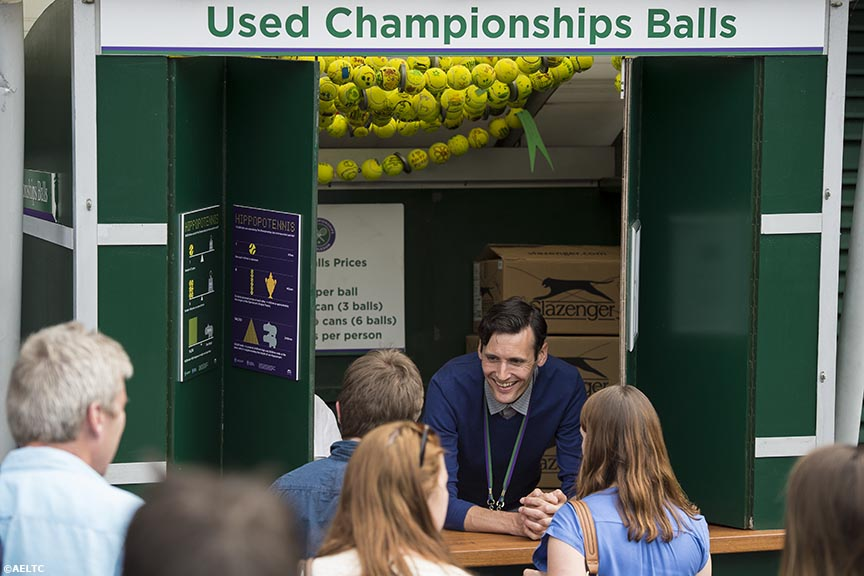"""Slazenger used championship tennis balls are sold at the All England Lawn and Tennis Club in London, England Tuesday, July 1, 2014 during the 2014 Championships Wimbledon."""