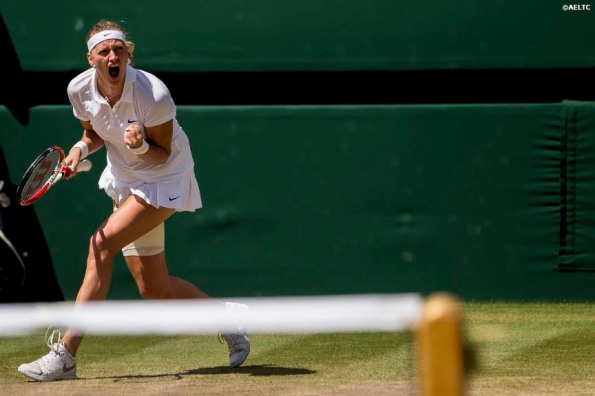 """Petra Kvitova reacts after winning a game during the Ladies' Singles Semi-Final match against Lucie Safarova on Centre Court at the All England Lawn and Tennis Club in London, England Thursday, July 3, 2014 during the 2014 Championships Wimbledon."""