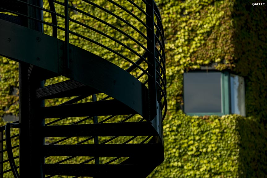 """A spiral staircase is shown at the All England Lawn and Tennis Club in London, England Friday, July 4, 2014 during the 2014 Championships Wimbledon."""