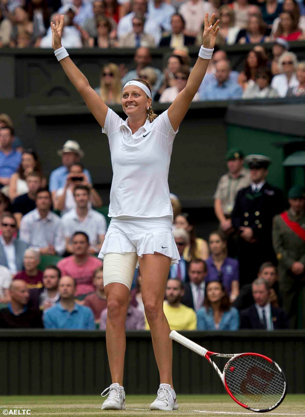 """Petra Kvitova reacts after winning the ladies' singles final against Eugenie Bouchard on Centre Court at the All England Lawn and Tennis Club in London, England Saturday, July 5, 2014 during the 2014 Championships Wimbledon."""