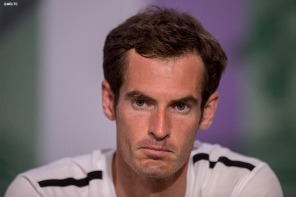 """Andy Murray addresses the media during a press conference after losing to Grigor Dimitrov in the quarter-finals on day nine at the All England Lawn and Tennis Club in London, England Wednesday, July 2, 2014 during the 2014 Championships Wimbledon."""