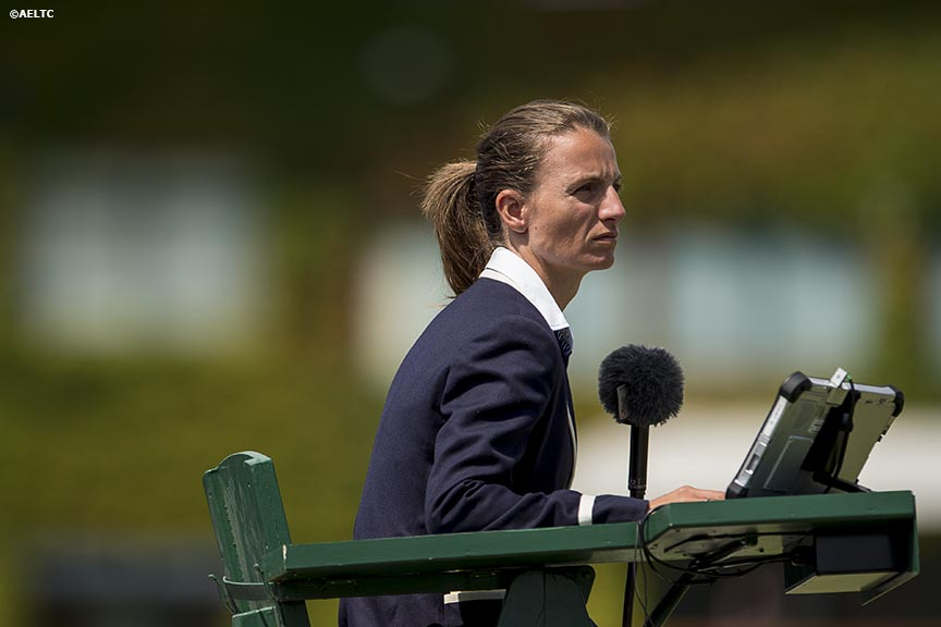 """A chair umpire calls a match on Court 12 at the All England Lawn and Tennis Club in London, England Tuesday, July 1, 2014 during the 2014 Championships Wimbledon."""