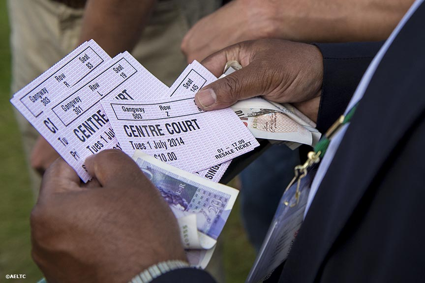 """Resale tickets to Centre Court are shown at the All England Lawn and Tennis Club in London, England Tuesday, July 1, 2014 during the 2014 Championships Wimbledon."""