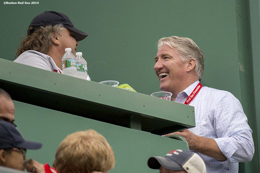 """CNN anchor John King chats with fans in the Green Monster seats during a game between the Boston Red Sox and the New York Yankees Saturday, August 2, 2014 at Fenway Park in Boston, Massachusetts."""