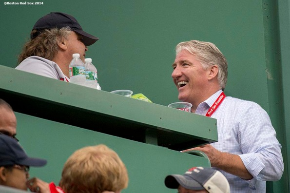 """""""CNN anchor John King chats with fans in the Green Monster seats during a game between the Boston Red Sox and the New York Yankees Saturday, August 2, 2014 at Fenway Park in Boston, Massachusetts."""""""