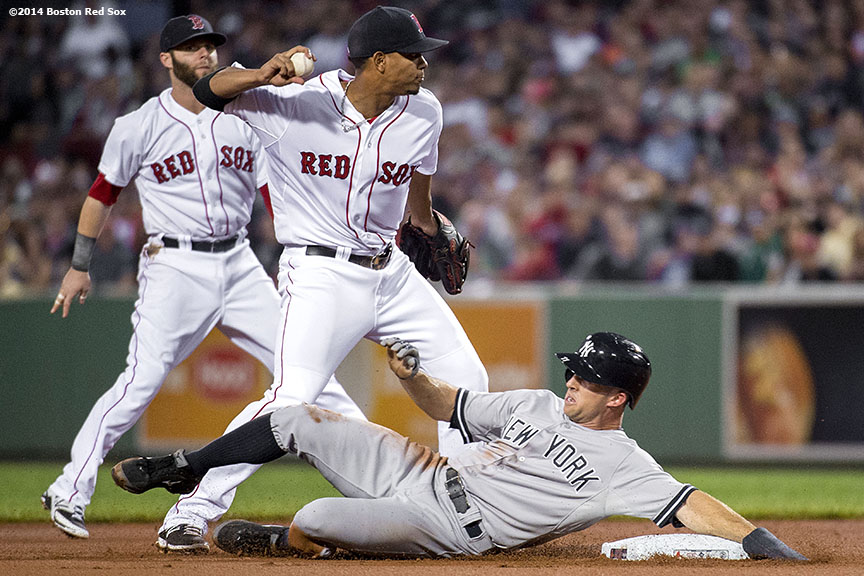 """oston Red Sox shortstop Xander Bogaerts and second baseman Dustin Pedroia turn a double play over left fielder Brett Gardner during the first inning of a game against the New York Yankees Sunday, August 3, 2014 at Fenway Park in Boston, Massachusetts."""