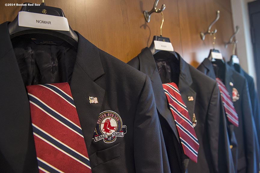 """The jackets of Boston Red Sox Class of 2014 Hall of Fame inductees Nomar Garciaparra, Pedro Martinez, Roger Clemens, and Joe Castiglione hang during the 2014 Hall of Fame luncheon at Fenway Park in Boston, Massachusetts Thursday, August 14, 2014."""