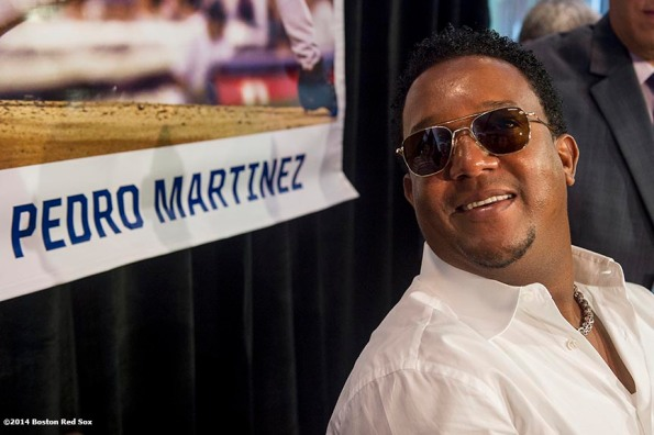 """""""Former pitcher and Boston Red Sox Class of 2014 Hall of Fame inductee Pedro Martinez meets with media during the 2014 Hall of Fame luncheon at Fenway Park in Boston, Massachusetts Thursday, August 14, 2014."""""""