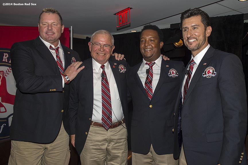 """""""Boston Red Sox Class of 2014 Hall of Fame inductees Roger Clemens, Joe Castiglione, Pedro Martinez, and Nomar Garciaparra pose for a photograph during the 2014 Hall of Fame luncheon at Fenway Park in Boston, Massachusetts Thursday, August 14, 2014."""""""