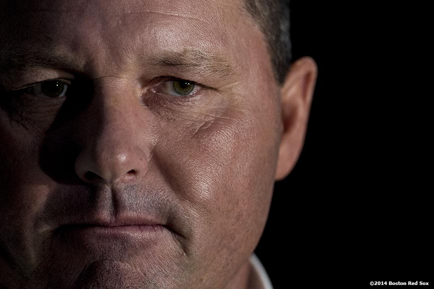 """Former pitcher and Boston Red Sox Class of 2014 Hall of Fame inductee Roger Clemens meets with media during the 2014 Hall of Fame luncheon at Fenway Park in Boston, Massachusetts Thursday, August 14, 2014."""