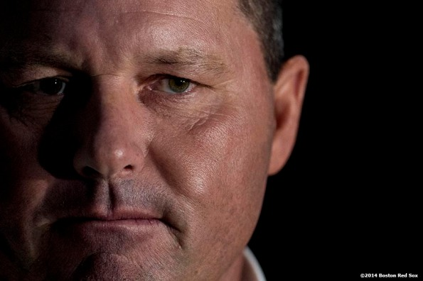 """""""Former pitcher and Boston Red Sox Class of 2014 Hall of Fame inductee Roger Clemens meets with media during the 2014 Hall of Fame luncheon at Fenway Park in Boston, Massachusetts Thursday, August 14, 2014."""""""