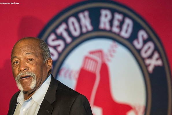 """""""Boston Red Sox Hall of Fame member Luis Tiant is introduced during the 2014 Hall of Fame luncheon at Fenway Park in Boston, Massachusetts Thursday, August 14, 2014."""""""