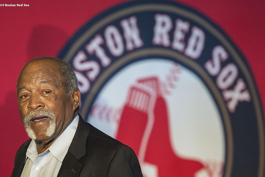 """Boston Red Sox Hall of Fame member Luis Tiant is introduced during the 2014 Hall of Fame luncheon at Fenway Park in Boston, Massachusetts Thursday, August 14, 2014."""