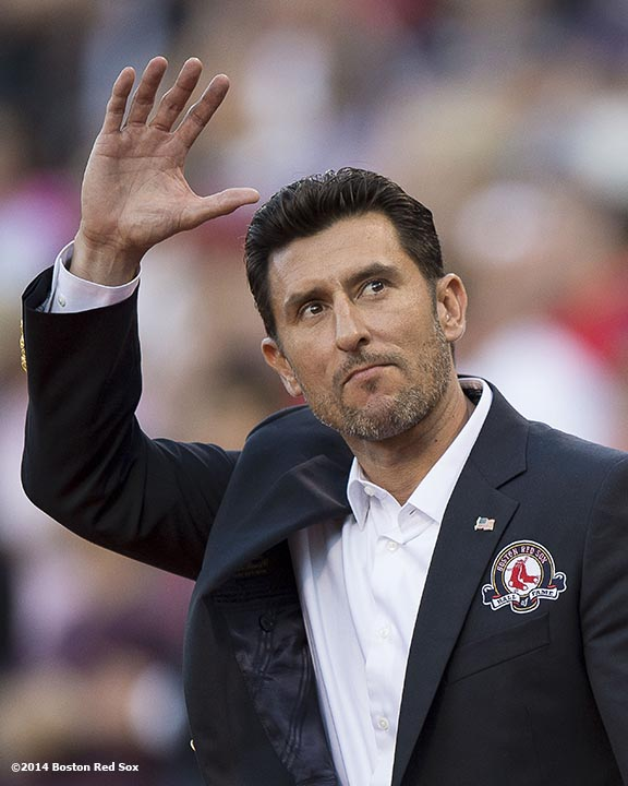 """""""Boston Red Sox Class of 2014 Hall of Fame inductee Nomar Garciaparra is introduced during a special pre-game ceremony before a game against the Houston Astros at Fenway Park in Boston, Massachusetts Thursday, August 14, 2014."""""""