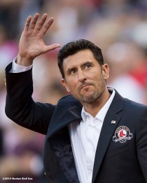 """Boston Red Sox Class of 2014 Hall of Fame inductee Nomar Garciaparra is introduced during a special pre-game ceremony before a game against the Houston Astros at Fenway Park in Boston, Massachusetts Thursday, August 14, 2014."""