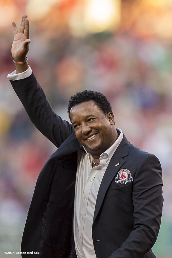 """Boston Red Sox Class of 2014 Hall of Fame inductee Pedro Martinez is introduced during a special pre-game ceremony before a game against the Houston Astros at Fenway Park in Boston, Massachusetts Thursday, August 14, 2014."""